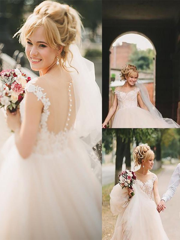 Hot A-Line Scoop Cut Tulle Long Wedding Dresses With Ruffles