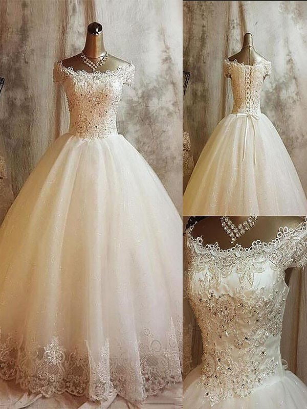 Glamorous Ball Gown Off-the-Shoulder Cut Tulle Long Wedding Dresses With Applique