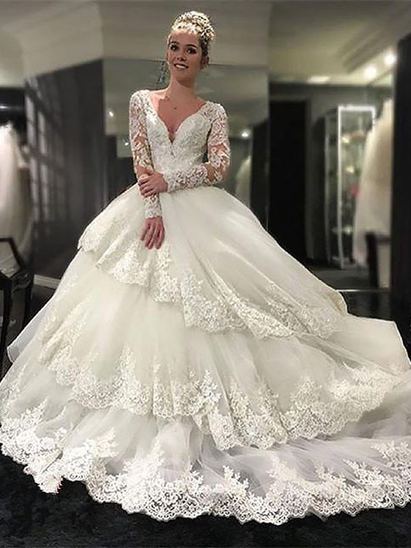 Popular Ball Gown V-neck Cut Tulle Long Wedding Dresses With Ruffles