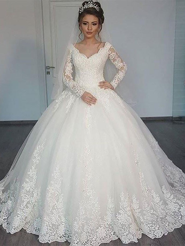 Pretty Ball Gown V-neck Cut Tulle Long Wedding Dresses With Ruffles