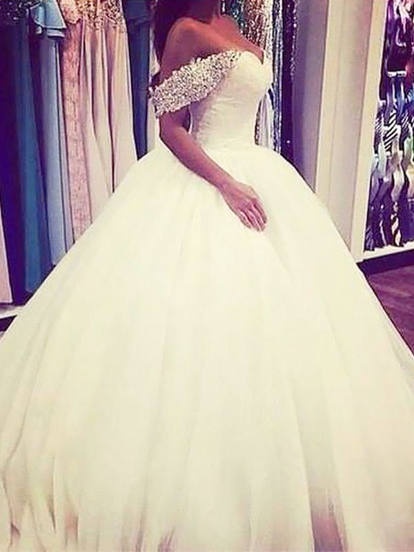 Gorgeous Ball Gown Off-the-Shoulder Cut Tulle Long Wedding Dresses With Beading