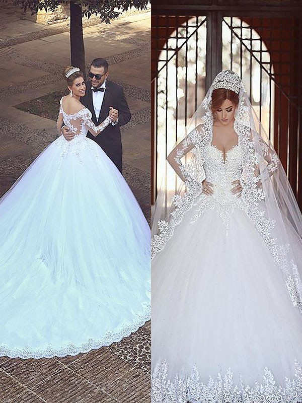Nice Ball Gown Off-the-Shoulder Cut Tulle Long Wedding Dresses With Ruffles