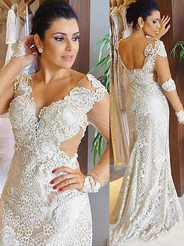 Lovely Sheath V-neck Cut Lace Long Wedding Dresses With Ruffles