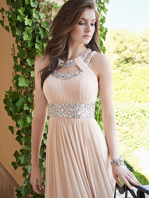 Unique A-Line Bateau Cut Chiffon Long Dresses With Beading