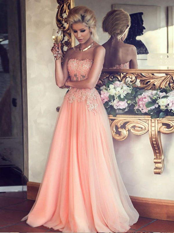 Attractive A-Line Strapless Cut Chiffon Long Dresses With Applique