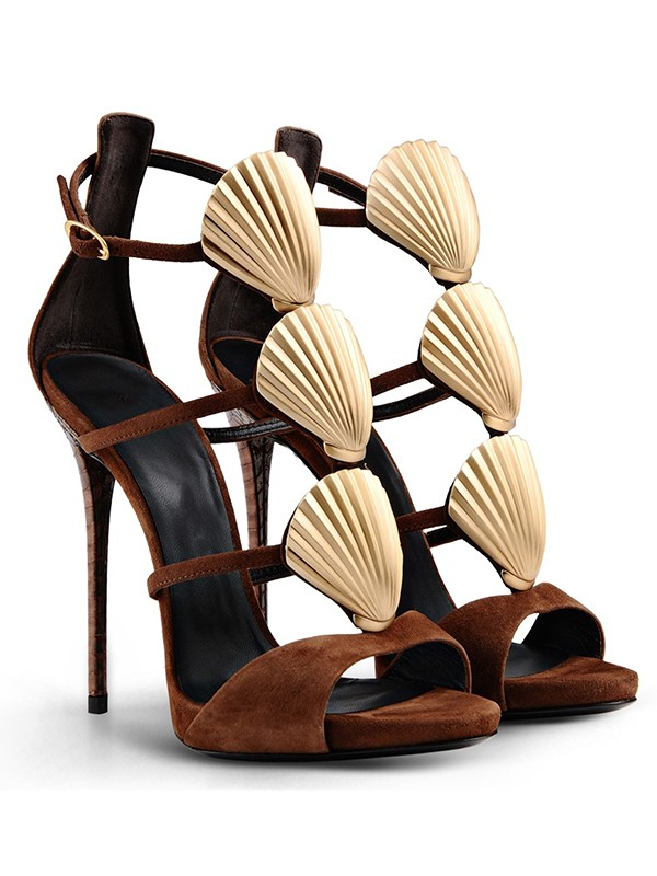 Women's Suede Peep Toe Stiletto Heel With Buckle Sandals Shoes