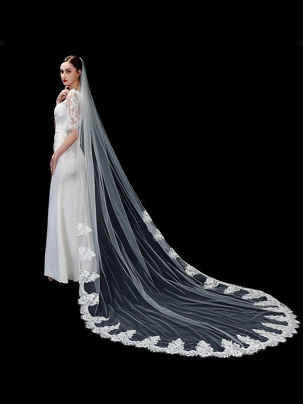 Attractive Tulle One-Tier Cathedral Bridal Veils With Applique