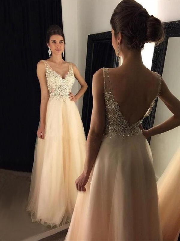 0469d92c259 A-Line Sleeveless V-neck Floor-Length With Applique Tulle Dress