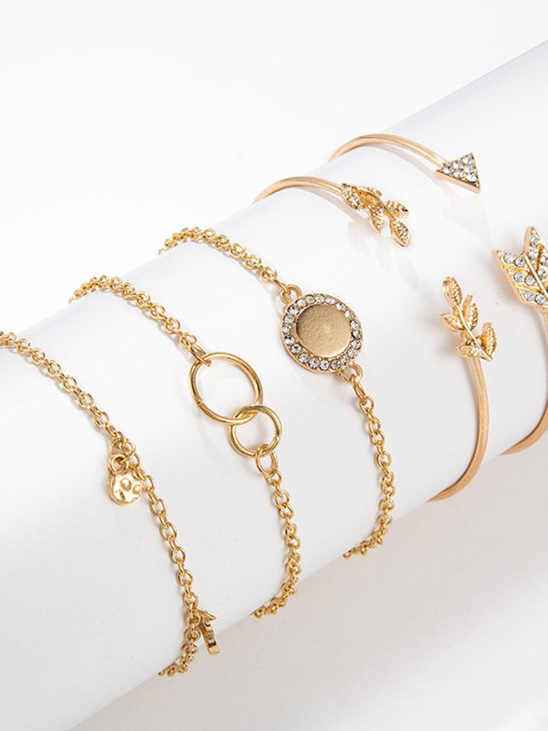 Attractive Alloy With Leaves Hot Sale Bracelets(5 Pieces)